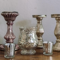 Rental store for Metallic PIllar Candle Holders in San Francisco CA